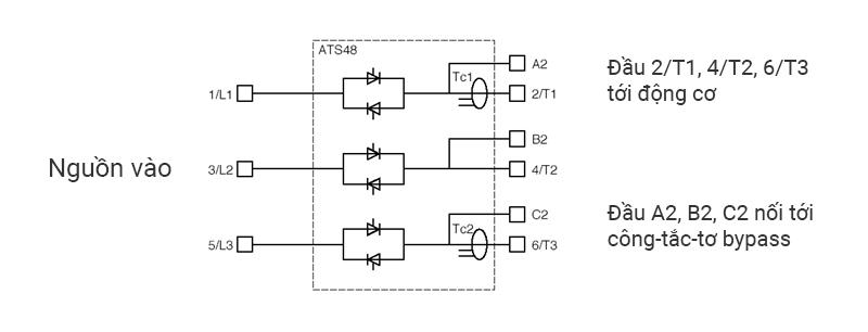 Sơ đồ đấu động lực của soft starter ATS48