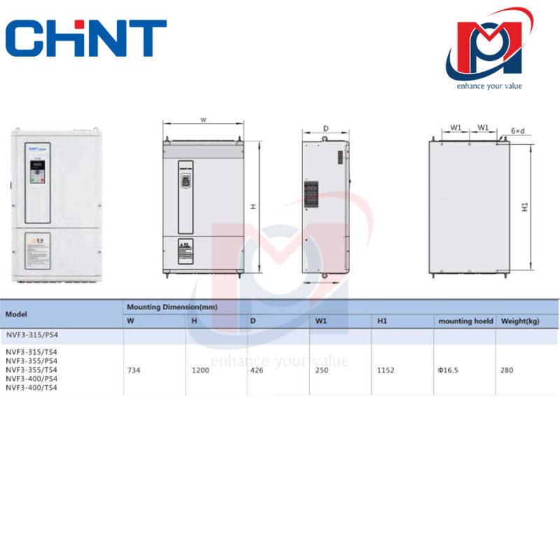 Thiết kế của biến tần NVF3-355/TS4